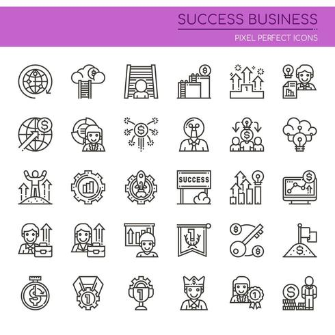 Set of Black and White Thin Line Successful Business Icons