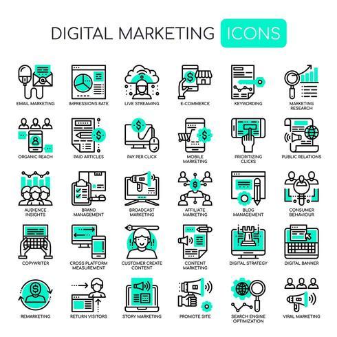 Set di icone di marketing digitale monocromatico linea sottile vettore