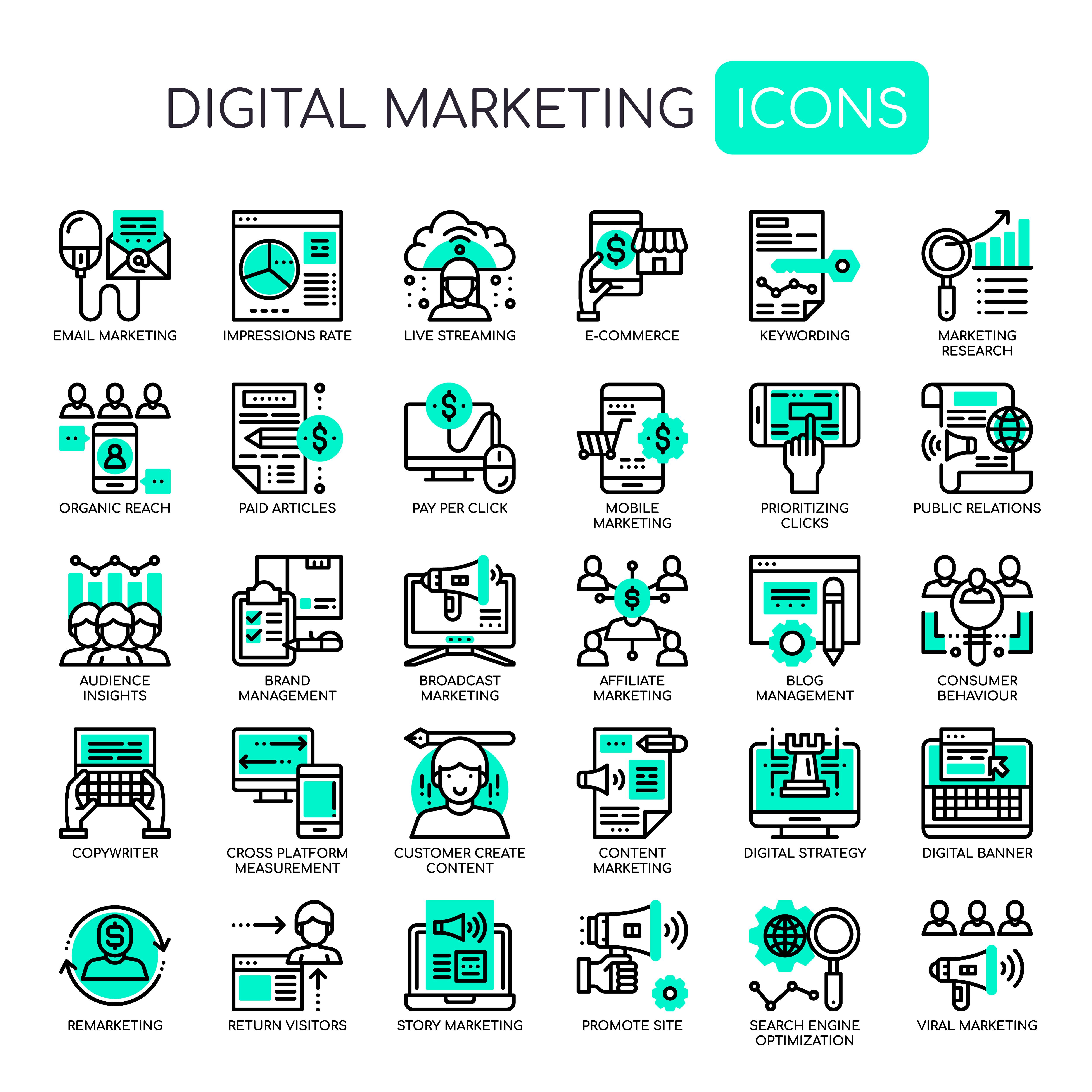 Set of Monochrome Thin Line Digital Marketing Icons ...