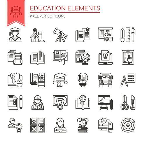 Conjunto de elementos de educación de línea fina en blanco y negro