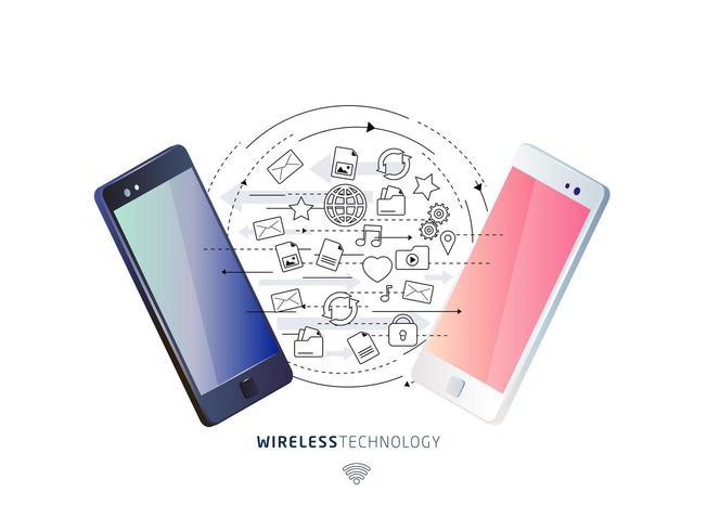 Concepto isométrico de intercambio entre teléfonos inteligentes. vector