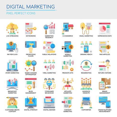 Set di icone di marketing digitale colore piatto vettore