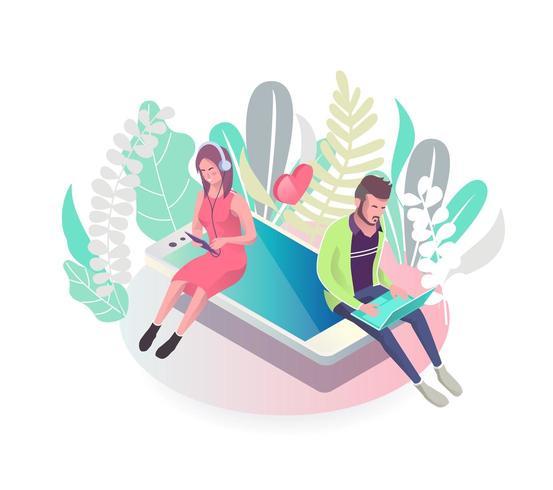 Isometriskt koncept med människor som sitter på mobiltelefonen