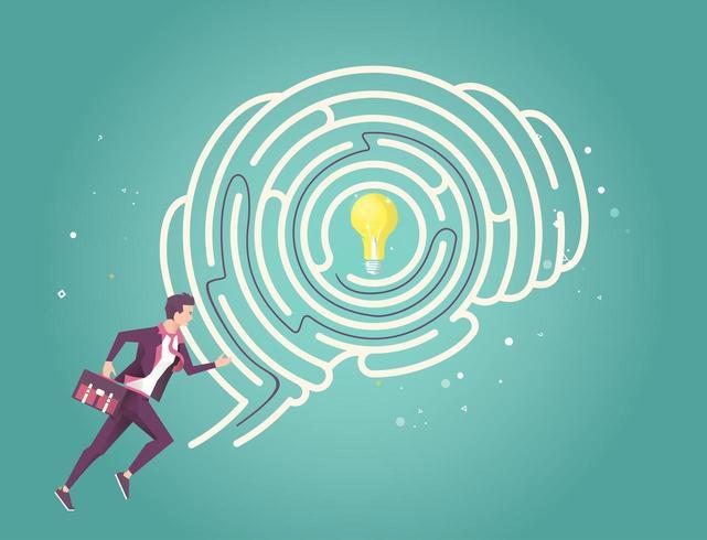 Zakenman die zijn hersenenlabyrint doorneemt om idee te vinden
