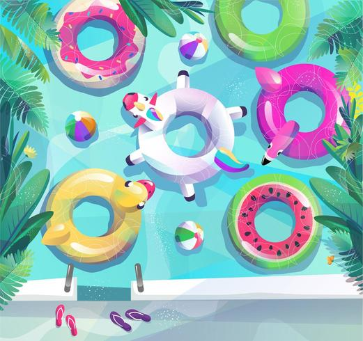 Top down view of different kinds of pool floats. vector