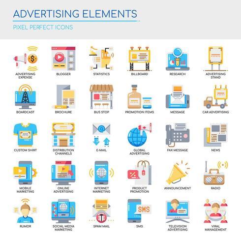 Ensemble d'éléments publicitaires couleur plat