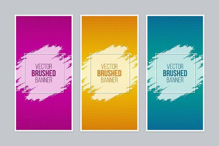 Striscioni colorati spazzolati con cornici quadrate vettore