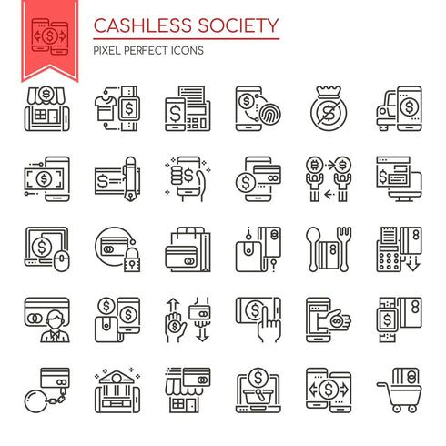 Set of Black and White Thin Line Cashless Society Icons  vector