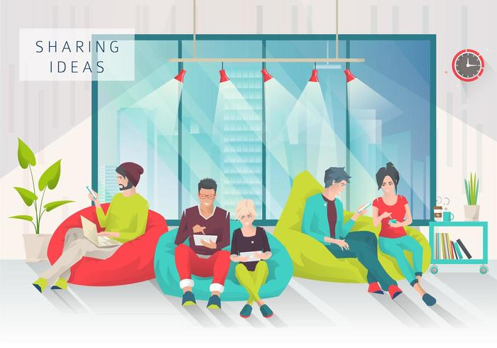Young people sitting on bean bags with different gadgets