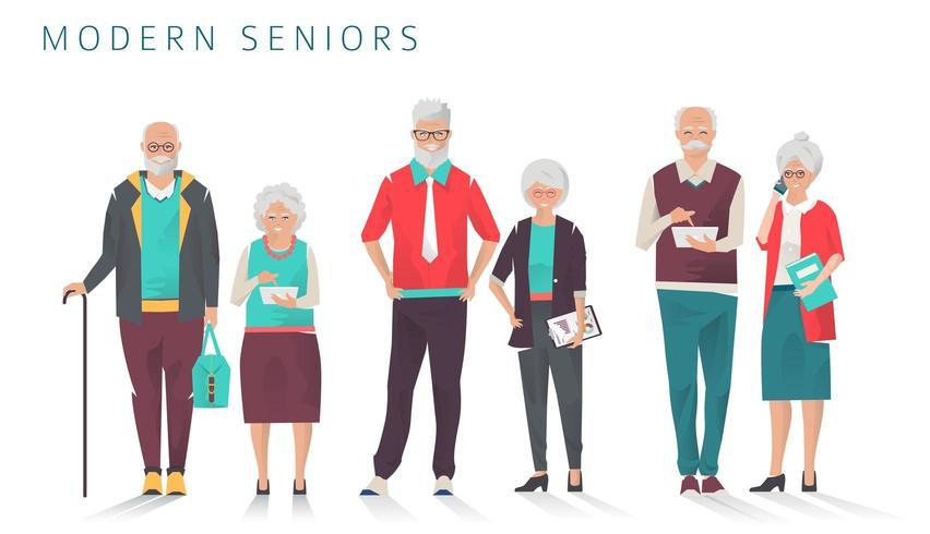 Uppsättning av moderna äldre affärsfolk som använder olika prylar