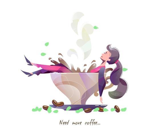 Concetto in stile piano con donna sdraiata nella grande tazza di caffè. vettore