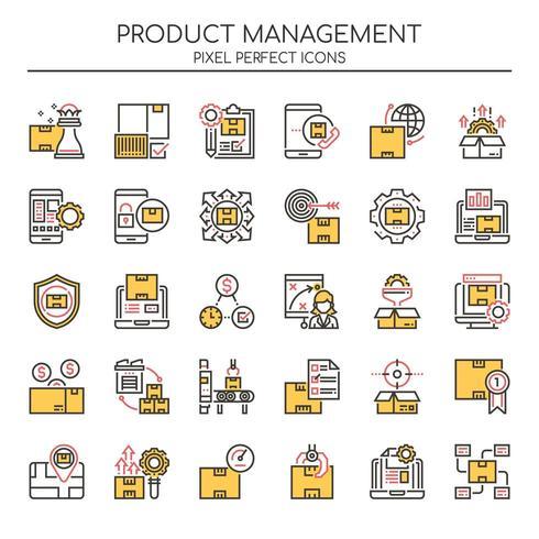 Set di icone di gestione del prodotto linea sottile Duotone vettore
