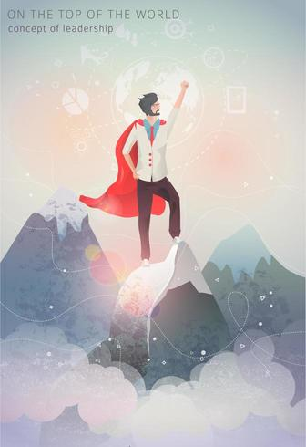 Uomo in piedi sulla cima della montagna con mantello