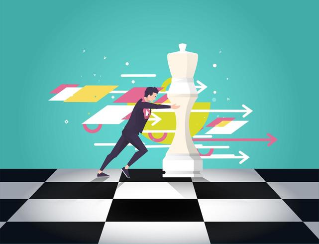 Business man moving chess piece with arrows and shapes in background