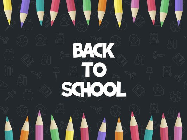 Modello di poster moderno di ritorno a scuola, matita colorata