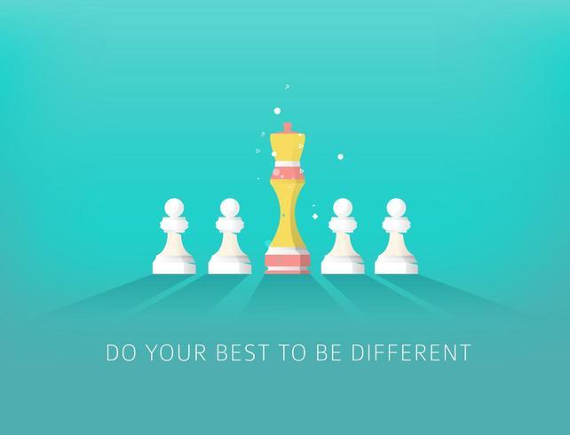 Un pezzo degli scacchi diverso e quattro pezzi dello stesso pezzo vettore