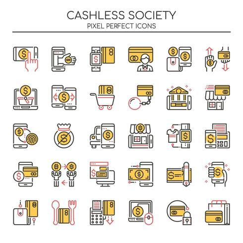 Conjunto de iconos de Duotone Thin Line Cashless Society vector