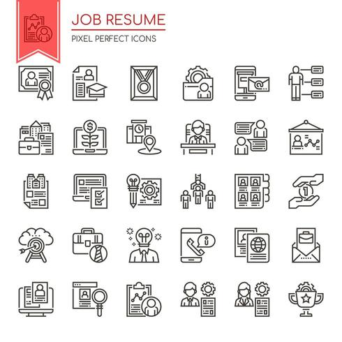 Set Of Black And White Thin Line Job Resume Icons Download Free Vectors Clipart Graphics Vector Art