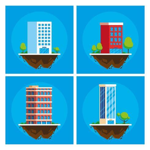 edificios paisaje urbano en escena del terreno vector