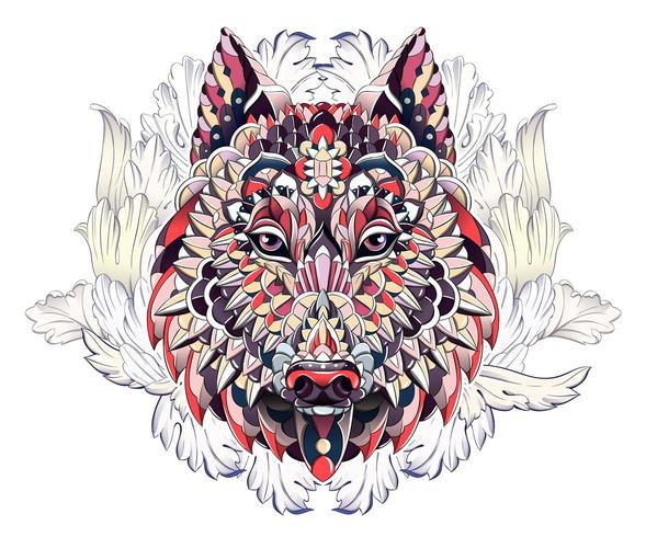 Patterned head of wolf or dog on background with acanthus leaves