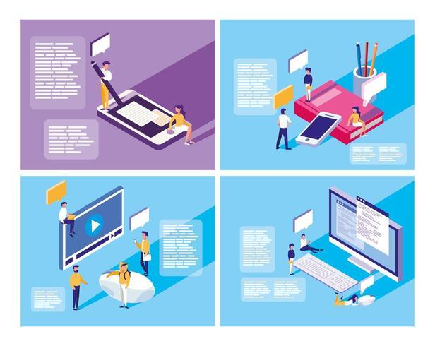 educación en línea con mini personas y establecer iconos vector