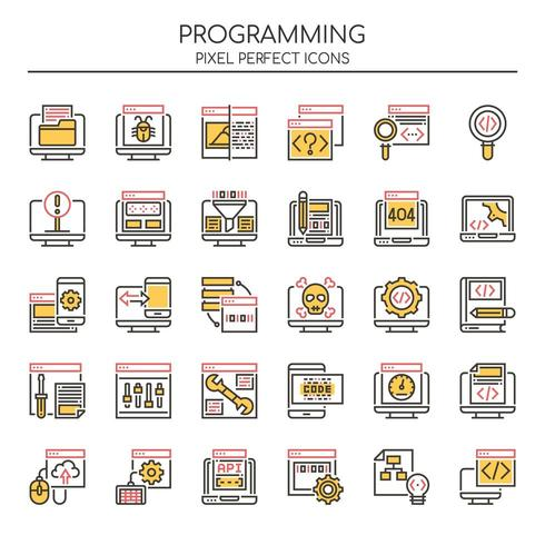 Ensemble d'icônes de programmation de lignes minces Duotone vecteur