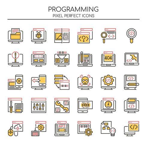 Reihe von Duotone Thin Line Programming Icons