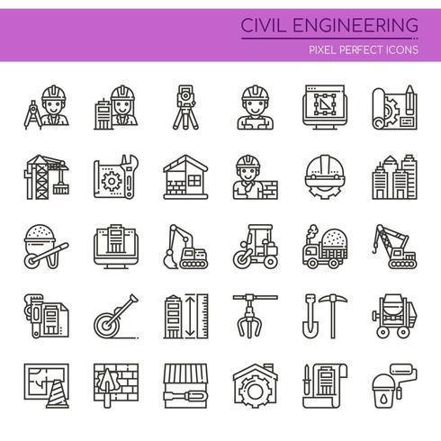 Uppsättning av svartvita tunn linje ikoner för byggnadsteknik