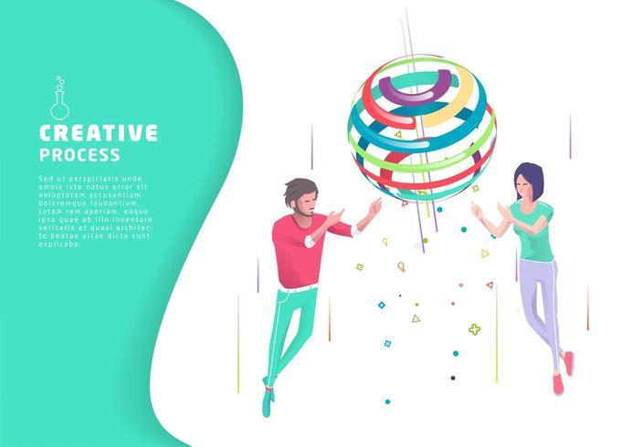 Processo creativo con due persone e sfera colorata vettore