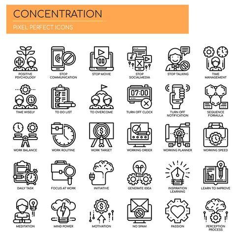 Set di icone di concentrazione di linea sottile in bianco e nero vettore
