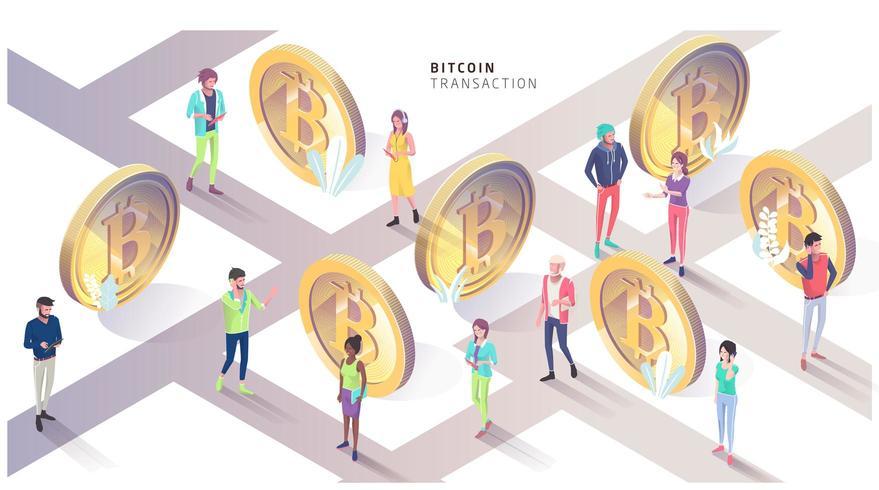 Concepto isométrico con bitcoins y personas. Ciudad de bitcoin.