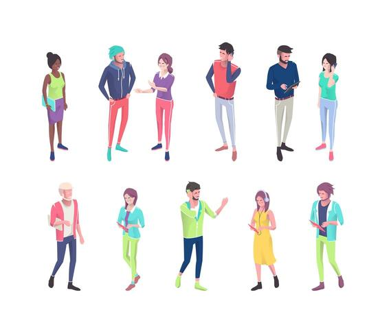 Set of people with different electronic gadgets vector