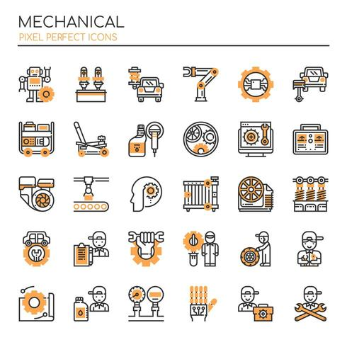 Set of Monotone Thin Line Mechanical Icons  vector