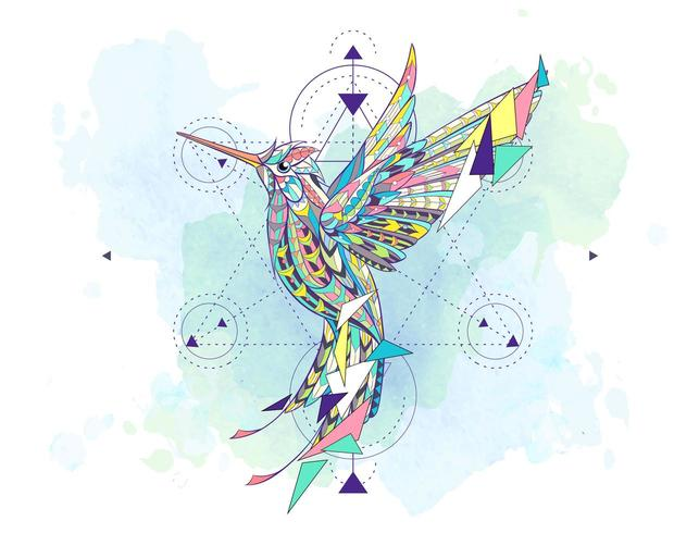 Patterned hummingbird surrounded by geometry symbols vector