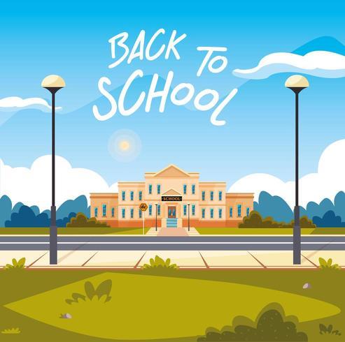 fachada da escola com estrada em poster volta às aulas vetor