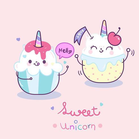 Cute dibujos animados de pastel de pareja de unicornio