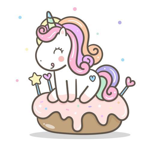 Kawaii unicornio y rosquilla rosa