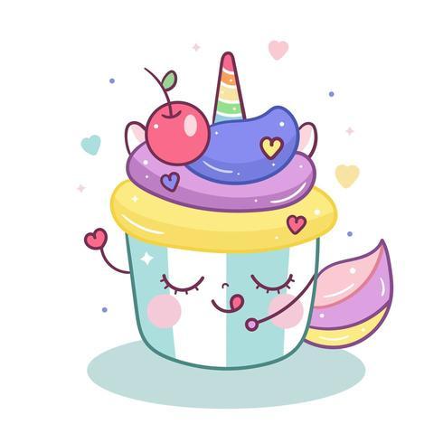 Leuke Eenhoorn cartoon in magische cupcake cartoon doodle