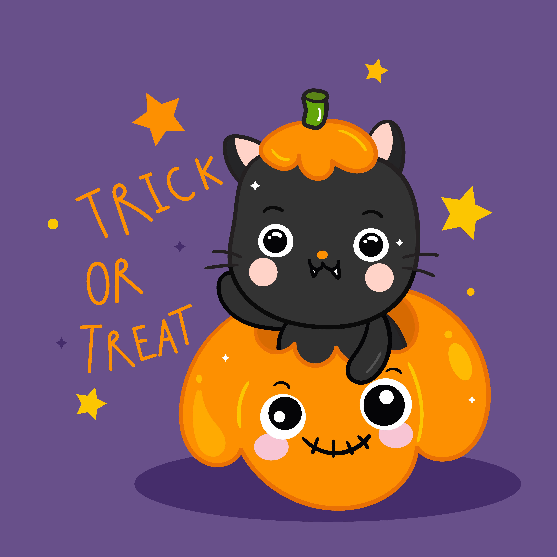 Cute Halloween cat with pumpkin doodle animal - Download ...