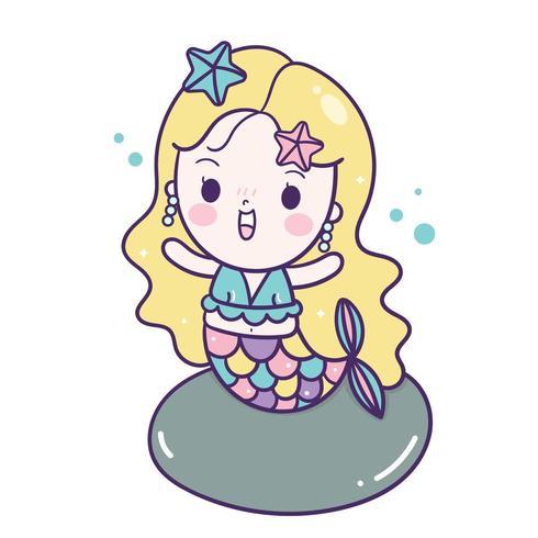 Sirène de style kawaii vecteur