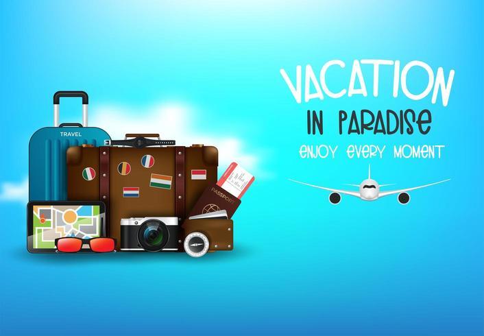 Concepto de vacaciones de escritorio del viajero