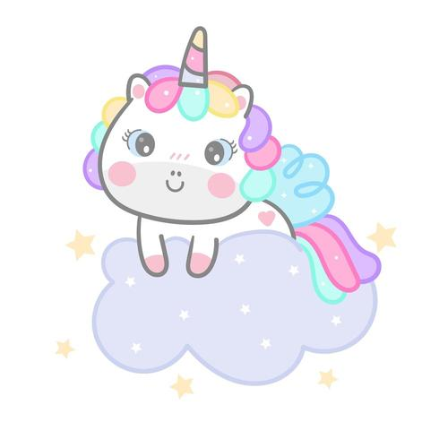 Cartone animato unicorno su nuvola
