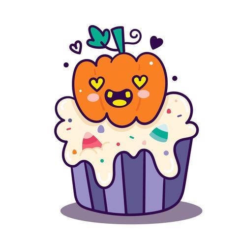 Simpatico cartone animato di Halloween cupcake vettore