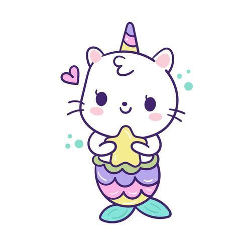 Caricature de sirène Kawaii Cat Unicorn
