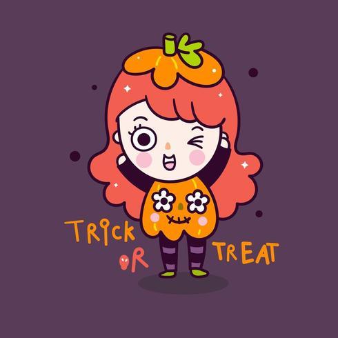 Costume di zucca del fumetto della strega di Halloween della ragazza sveglia vettore