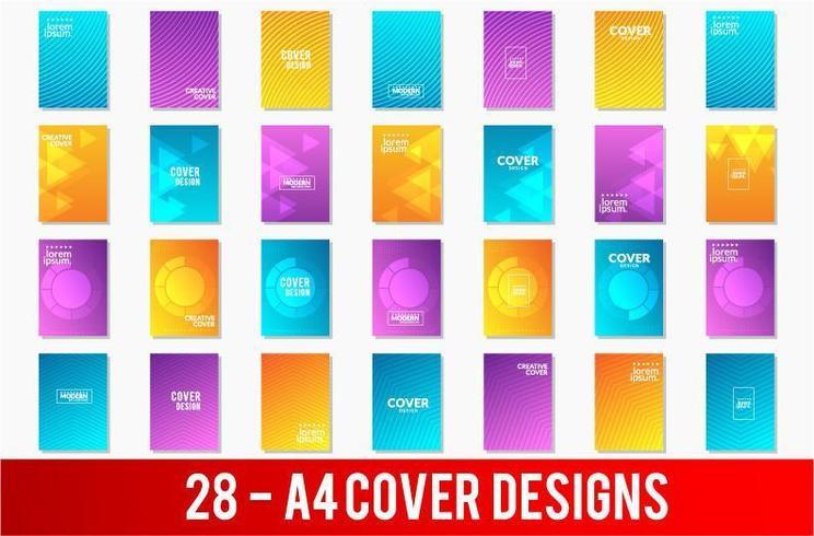 Set di disegni di copertina A4 con motivi geometrici vettore