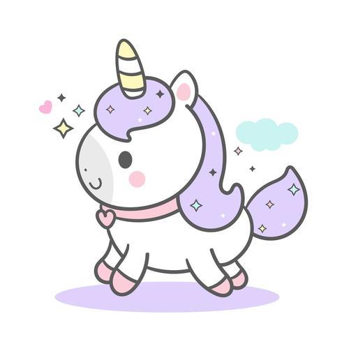 Purple Cute Unicorn vector