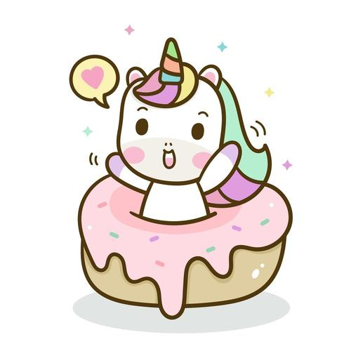 Hand drawn unicorn with sweet cake vector