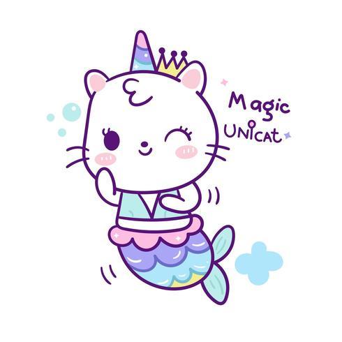 Cute unicorn cat mermaid