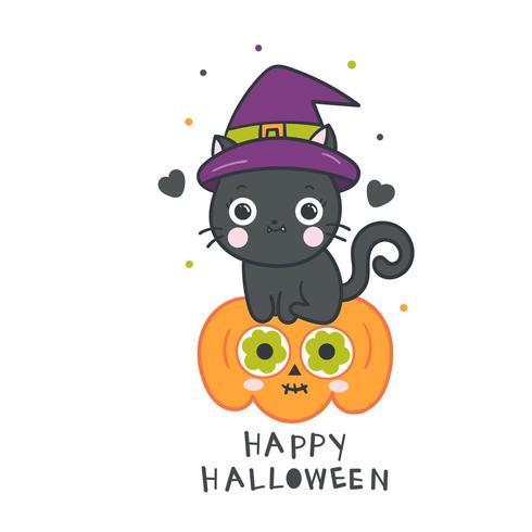 Cute Halloween Chat Noir Avec Citrouille Telecharger